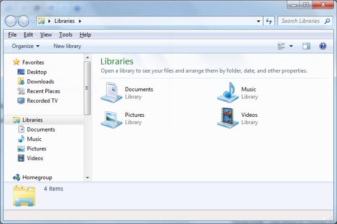 Windows Explorer Libraries