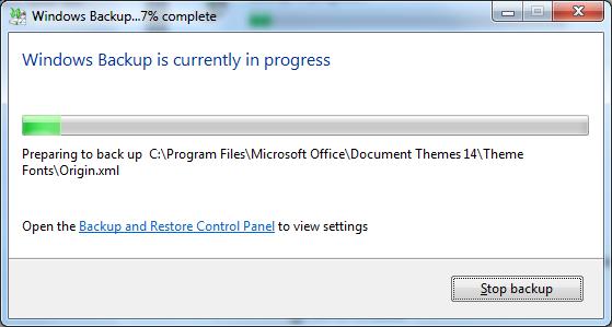 Backup and restore progress