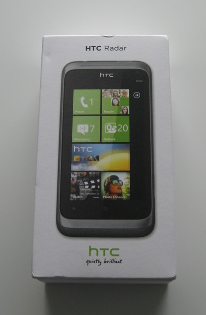box of the htc radar