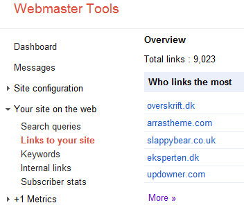 Webmaster Tool links