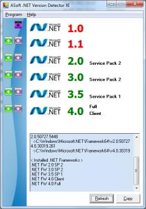Microsoft .Net Framework Version Detector