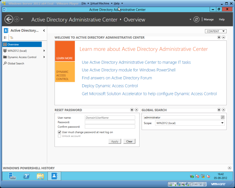 Active Directory Administrative Center in Windows Server 2012