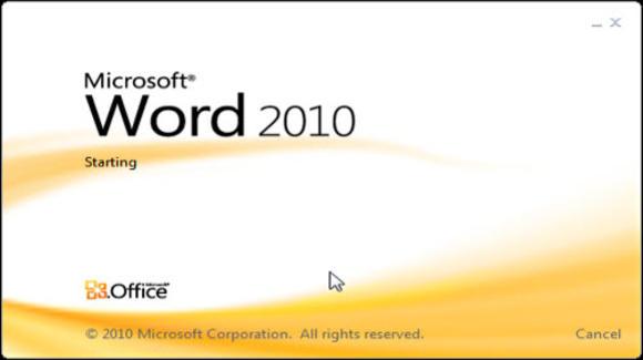 Word 2010 start screen